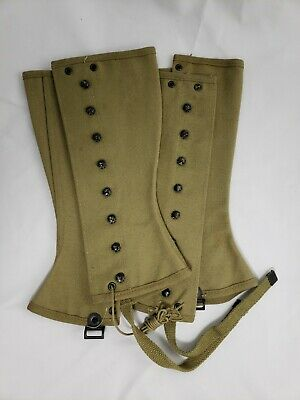 Vintage Wwii Us Army Leggings M-1938 Dated 1942 Size 3R