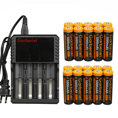 20PCS Garberiel 5000mAh Li-ion 3.7V Rechargeable 18650 Battery Charger For Torch