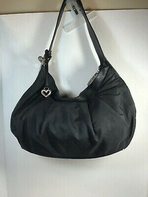 Brighton Black Vinyl Patent Leather Croc  Shoulder Bag Hobo Satchel Handbag