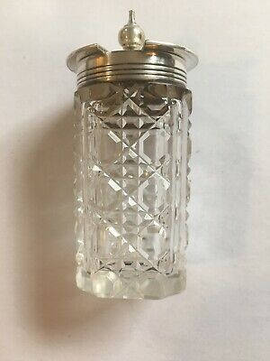 Vintage Retro Cut Glass  Mustard Pot With Hinged Metal Lid