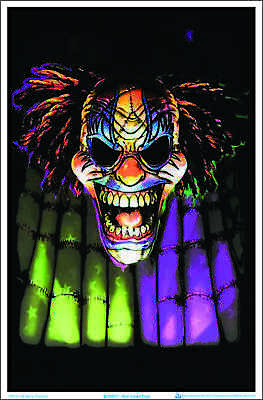 "Evil Clown Face Blacklight Poster - Flocked - 23"" x 35"""