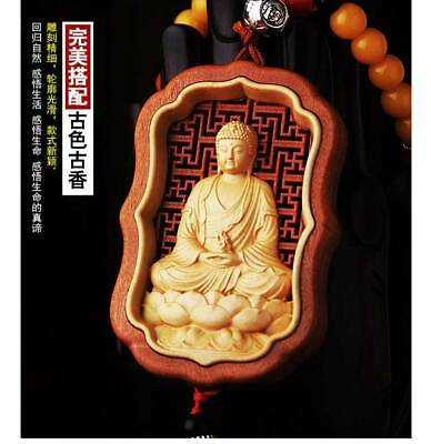 Hollow Out inlay Wood Carving Chinese Amitabha Buddha Statue Amulet Car Pendant