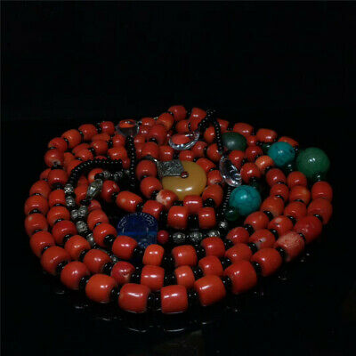 "47.24""Exquisite Chinese Coral Handmade court beads Necklace"