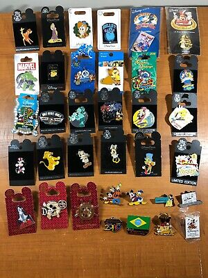 Disney Pin Mixed Lot Of 35 New on Card and Trading Pins w/ Limited Editions