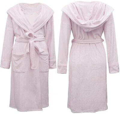 EX M & S Ladies/Women's/girls  Pink Super Soft Hooded Wrap Dressing Gown