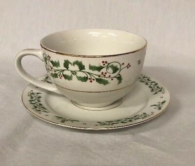 Gibson China Holiday Charm Cup Saucer Holly Berries Gold Trim Christmas
