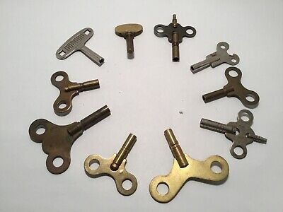 Lot of 10 Antique Vintage Assorted Clock Keys~Various Sizes & Shapes Replacement