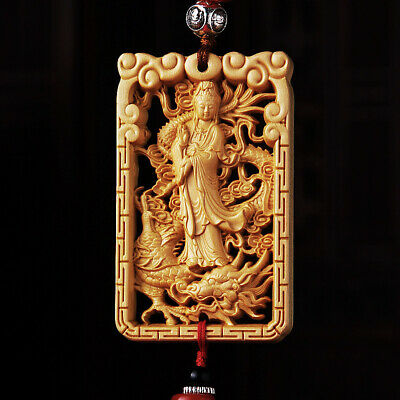 Hollow Out Wood Carving Chinese Kwan Yin Dragon Amult Double Sides Car Pendant