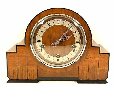 Art Deco Enfield Walnut Inlaid Quarter Chiming Mantle Clock
