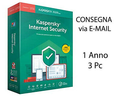 Kaspersky Internet security 2019 2020 3 PC / Mac / android 1 Anno Originale