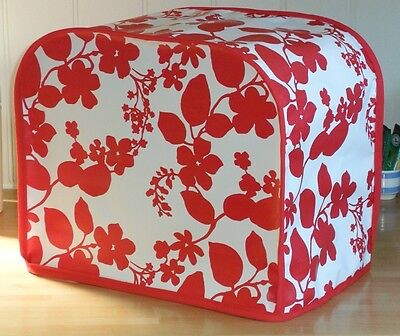 Red Edged Red Floral Pattern Vinyl Cover for KENWOOD PROSPERO Food Mixers