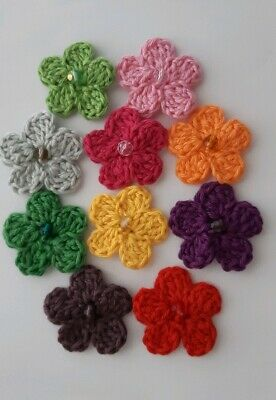 10x Cotton/Wool Crochet Flowers- Crafts-Embellishments - Sewing- Mixed Colours