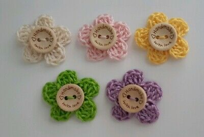 5 Cotton Crochet Flowers - Handmade with Love Tag - Crafts
