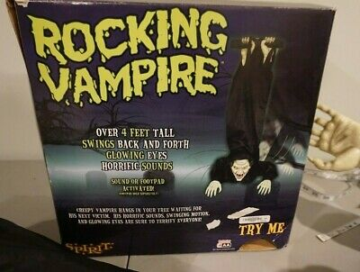 Life size ROCKING VAMPIRE Animated Lighted with sounds Spirit Halloween Prop