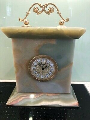 Antique Jaccard French Mantel Onyx Clock