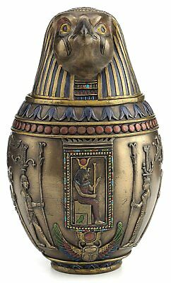 Egyptian Horus Canopic Jar Pet Burial Urn Falcon Statue WELL-MADE & NICE DETAIL