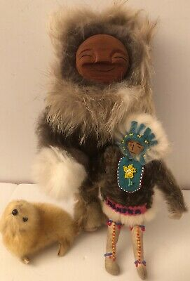 Vintage Two Eskimo Inuit Doll Alaska Various Fur Hide Wooden Carved Face