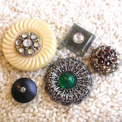 Five antique/vintage rhinestone, paste jeweled buttons, lucite celluloid metal