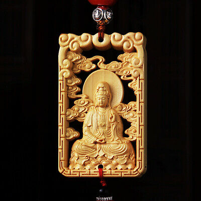 Hollow Out Wood Carved Chinese Guan Kwan Yin Double Sides Sculpture Car Pendant