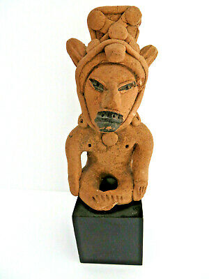 Pre Colombian Free Standing Warrior Figurine on Stand Circa 500 - 600 AD