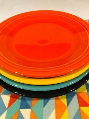 """New Bright Mix Set 4 Fiestaware 10.5"""" Mixed Color Dinner Plates Fiesta Free Ship"""