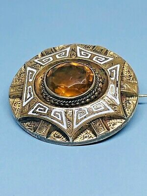 Antique Vcitorian Gold Cased White Enamel Brooch Mourning Momento Mori