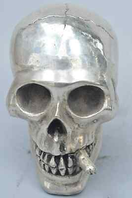 Handwork Collectable Miao Silver Carve Ghost Skull Smoking Exorcism Tibet Statue