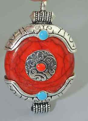 Collection Handwork Miao Silver Carve Flower Inlay Agate Buddha Tibet Pendant