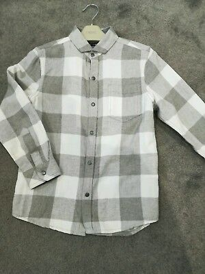 Next boys shirt grey and white age 7
