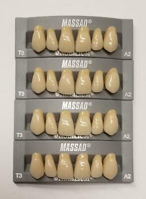 4pcs A2 Upper Massad Premium Anterior T3 Dental Acrylic Teeth False Denture