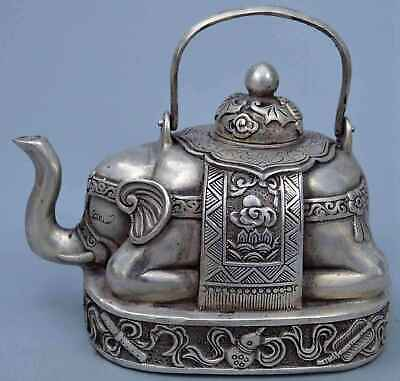 China Collectable Handwork Miao Silver Carve Elephant Auspicious Lucky Tea Pots