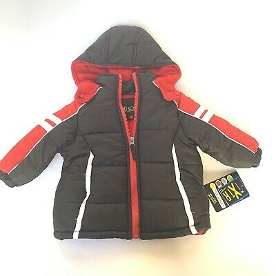 iXtreme Baby Toddler Boy Colorblock Puffer Jacket Coat Size 12 Months Red Black
