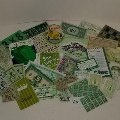 35 pc vintage green ephemera paper variety lot tickets stamps labels X