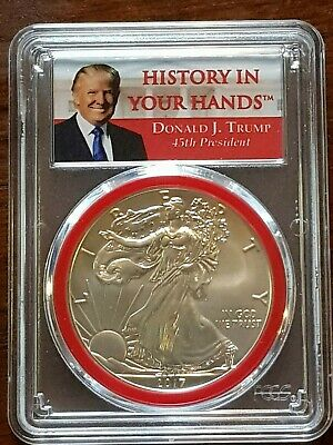 2017 $1 American Silver Eagle PCGS MS70 Donald Trump First Day of Issue Label Re