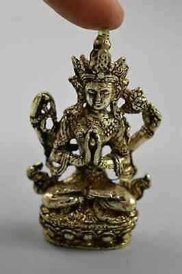 Collection Handwork Tibet Old Miao Silver Carve Lotus Buddha Auspicious Statue