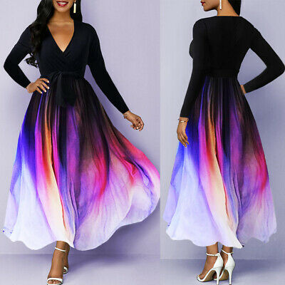 Women Long Sleeve V Neck Maxi Dress Ladies Evening Cocktail Party Swing Dresses