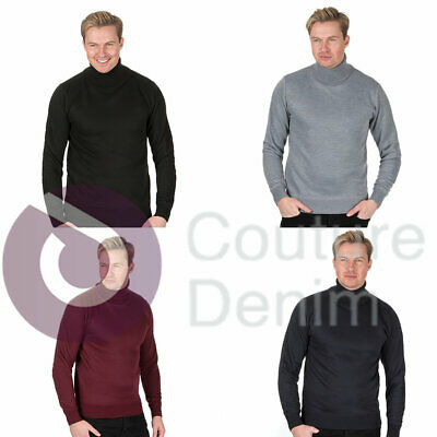 Mens Roll Polo Neck Jumper Funnel Top Jersey Base Layer Golf Knitted Pullover