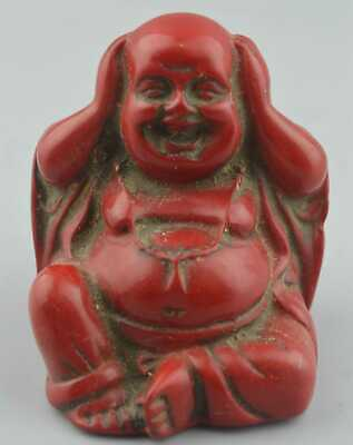 Chinese Collectable Handwork Tibet Old Coral Carve Buddha Pray Auspicious Statue
