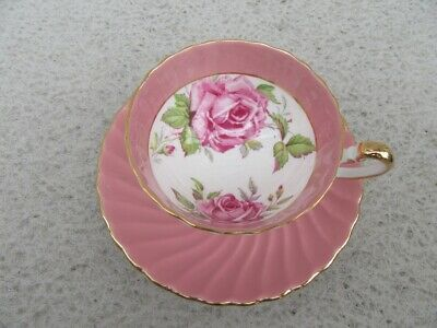 AYNSLEY CHINA Pink CABBAGE ROSE CUP AND SAUCER - Large Roses