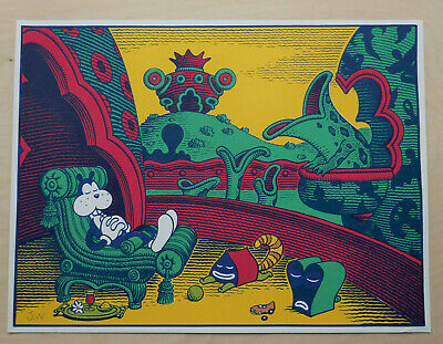 Jim Woodring signed Frank Pupshaw screenprint print Fantagraphics Desert Island