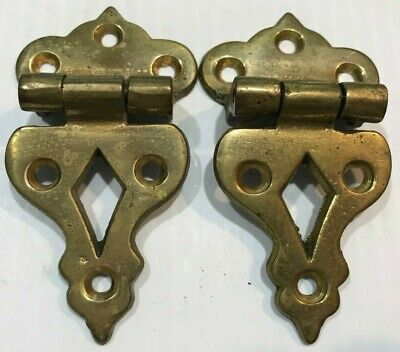 """Pair of Ice Box Hinges Brass Fancy Brass Antiqued 3 1/2"""" Long 2"""" Wide"""