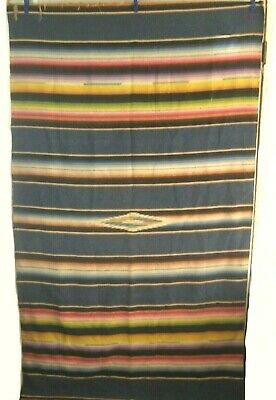 """Vintage Mexican Serape Saltillo Blanket Wall hanging 46"""" x 84"""" handwoven fringed"""