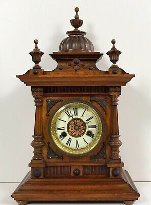 Walnut Hamburg American Clock Company Mantle Clock For Spares