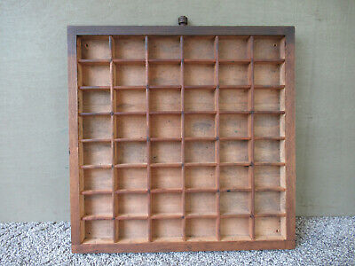 Antique Type Tray Vintage Primitive KELSEY Printer Drawer Shadow Box 48 Sections