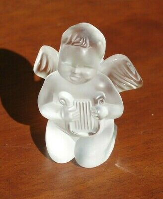 Lalique  Crystal Singing Cherub Angel with Harp