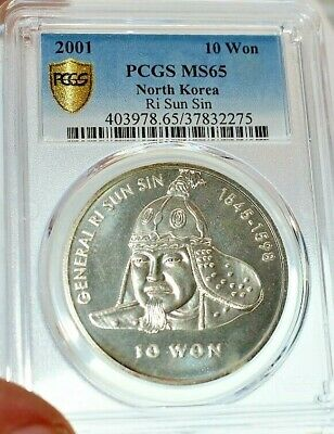 Korea -2001 10 Ten Won Silver Coin General Ri Sun Sin and graded MS65 by PCGS