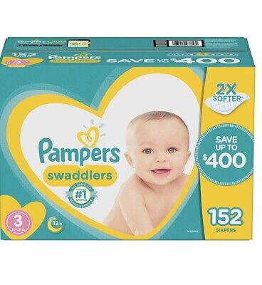 Pampers Swaddlers Disposable Diapers 152 Count Size 3 Baby 16-28 Lbs Absorbant