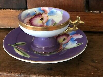 Hand Painted Antique Porcelain Demitasse Cup Saucer SIGNED Occupied Japan?UNKNOW