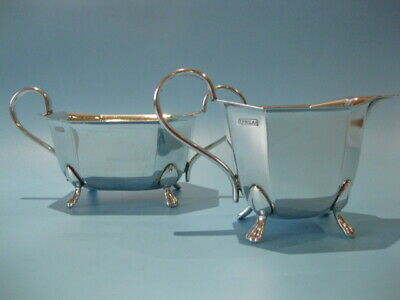 Very Elegant Antique Silver Plated Footed Art Deco Milk & Sugar Bowl Set