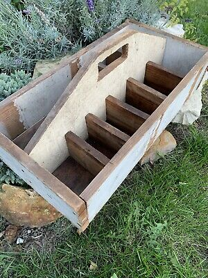 Antique Vintage Primitive Wood Tote Caddy Tool Box with Handle Farmhouse